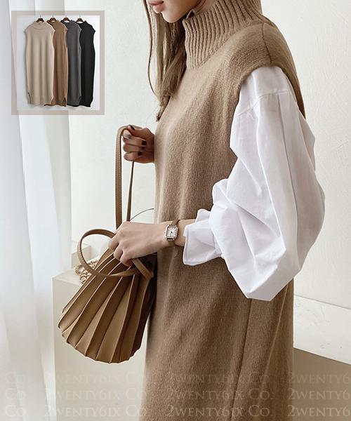 ★ 正韓 La MUSES ★ 時尚柔美質感 羊毛混紡 針織立領背心長裙(四色)