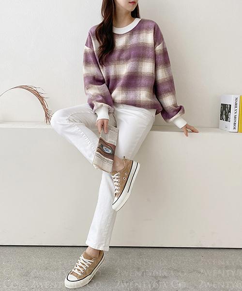 ★ 正韓 Sunny MTM ★ 時尚質感羊毛 渲染撞色格紋圓領針織上衣 (三色)
