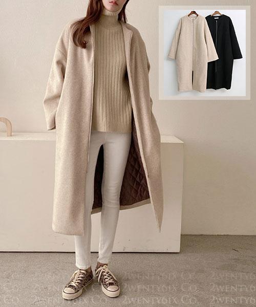 ★ 正韓 McQueen Wool ★時尚高檔羊毛 無領內雙層保暖棉絨 拉鍊外套 (兩色)