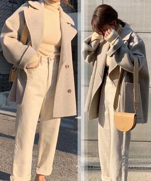 ★ 正韓 TaJa Velvet ★ 時尚優雅 厚實毛呢 雙排釦 大口袋 造型翻領外套