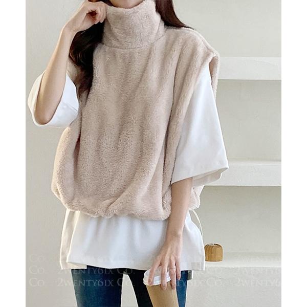 ★ 正韓 Odorata velvet ★ 時尚保暖 寬鬆高領無袖 束繩棉絨背心(兩色)