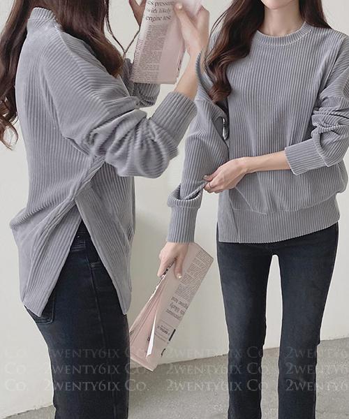 ★ 正韓 Bella Cotton★ 時尚率性 直條紋造型側開叉顯瘦上衣(三色)