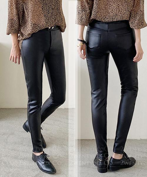 ★ 正韓 SLIM LLG ★ 時尚魅力 高彈質感 修身提臀顯瘦 內加絨綁腿皮褲