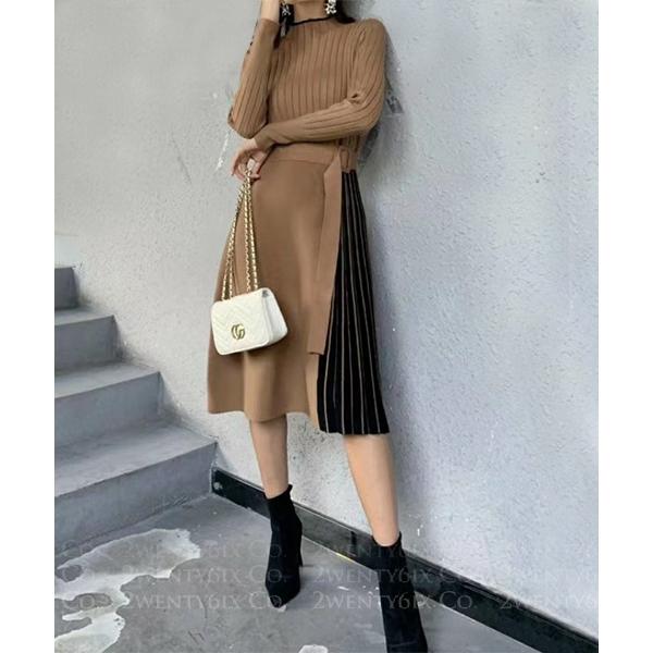 ★ 正韓 Yoko Buckle ★ 時尚別緻 假兩件上衣拼接撞色腰釦帶條紋半身裙 (三色)