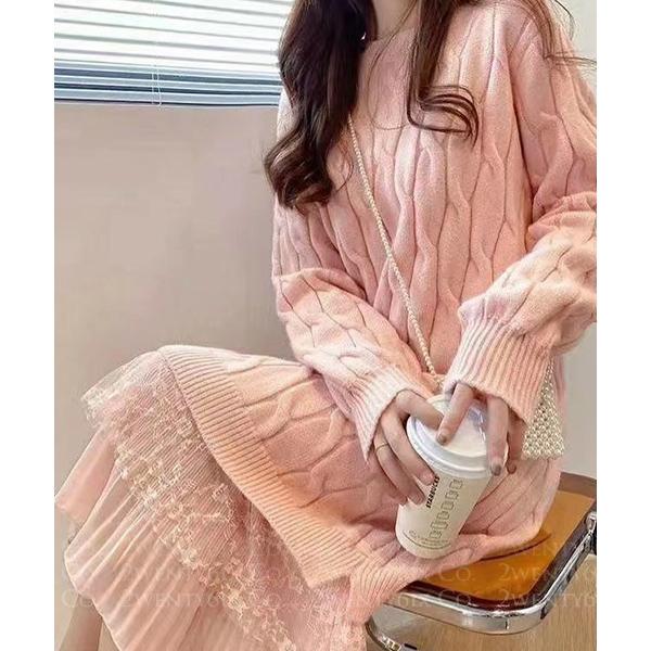 ★ 正韓 Mandy KNIT ★ 柔美質感 假兩件扭結針織上衣拼接紡紗裙 (三色)