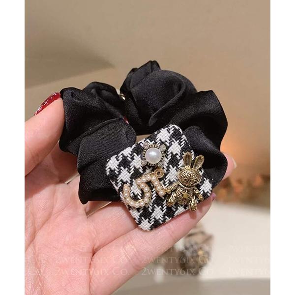 ★ 正韓 FIVE HTit ★ 甜美個性 針織珍珠水鑽兔兔髮圈(兩色)