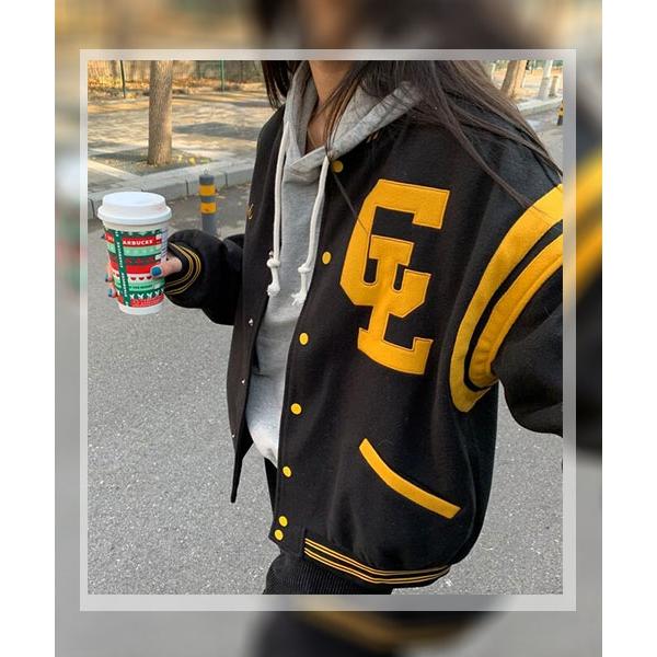 ★ 韓版 AdoraPAPA ★ 復古學院風 鈕釦 撞色運動外套