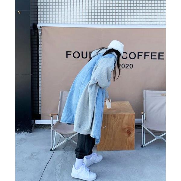 ★ 韓版 DenimLH Boa ★ 個性牛仔棉布 保暖內鋪捲毛絨 連帽長版外套