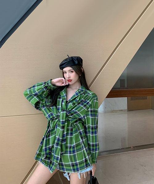 ★ 韓版 Dual PPD ★ 個性經典格紋 造型雙層翻領排釦襯衫