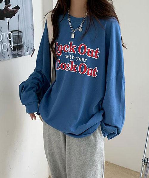 ★ 韓版 Rock Out ★ 休閒百搭 寬鬆舒適 質感圓領長袖T恤(兩色)