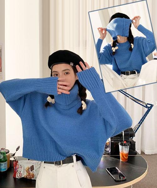 ★ 韓版 Marimar KNIT ★ 休閒可愛圓領短版針織上衣 (附活動式高領圍脖)(三色)
