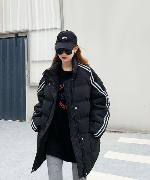 ★ 韓版 BarcelonaBB ★ 撞色雙袖條紋 保暖雙層防風 長版輕量羽絨外套