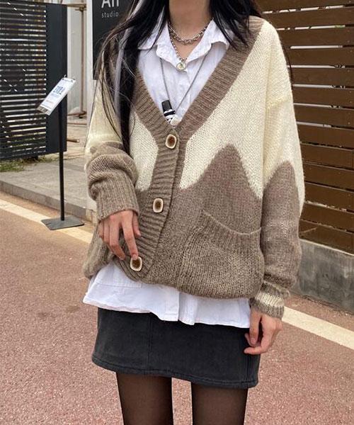 ★ 韓版 Plantation Knit ★ 休閒率性 寬鬆大排釦 撞色開衫針織外套(兩色)