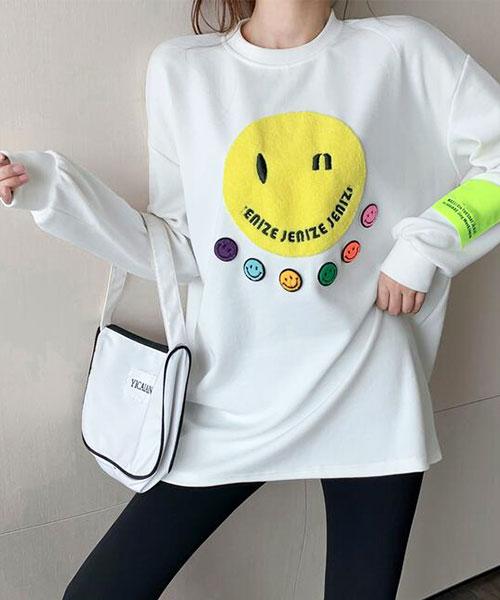 ★ 韓版 Smily Color ★ 休閒可愛玩味 微笑娃娃 圓領寬鬆上衣(兩色)