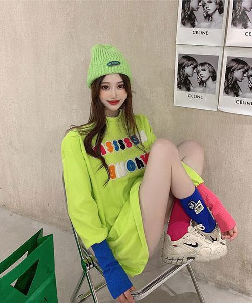 ★ 韓版 Playground ★時尚個性 造型彩色玩味設計 撞色雙袖 上衣(三色)