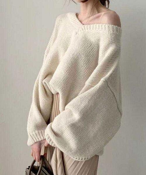★ 正韓 LOUNGE KT  ★時尚慵懶 質感顯瘦大V領毛衣 (兩色)