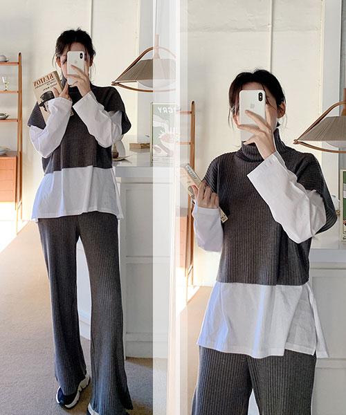 ★ 正韓 DefenKnit ★ 休閒時尚套頭高領 短袖 短版針織上衣 (三色)