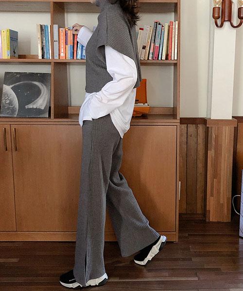 ★ 正韓 Defen PT ★ 休閒時尚 直條壓紋垂墜顯瘦 口袋 鬆緊長褲(兩色)
