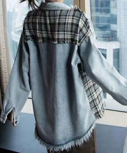 ★ 正韓 Hippy Denim ★ 時尚個性刷鬚針織拼牛仔外套
