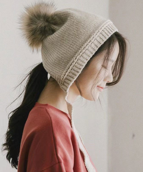 ★ 正韓 Neus KnitHT ★柔美質感 綁帶護耳炸毛針織毛帽 (7色)