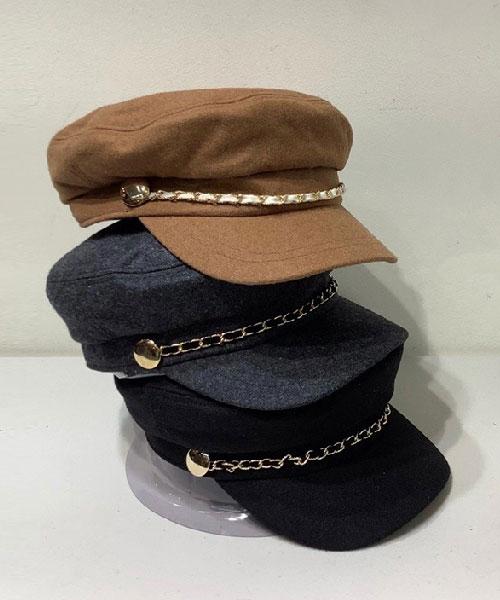 ★ 正韓 HASS CAP ★ 英倫復古針織棉 鑲鍊 硬式帽沿 海軍帽 (三色)