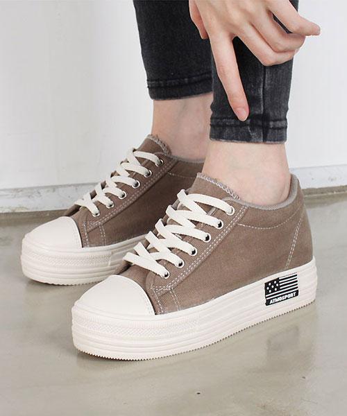 ★ 正韓 ★ ATMO Platform Canvas 內增高 6cm鬆糕厚底繫帶帆布鞋 (六色)