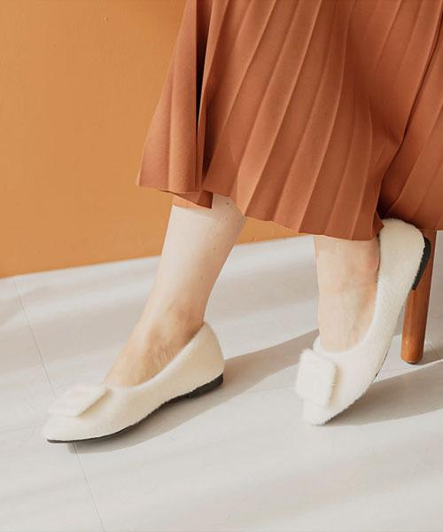 ★ 韓系 Daisy  Angora ★ 柔軟安哥拉羊毛 方形飾釦 娃娃鞋 (三色)