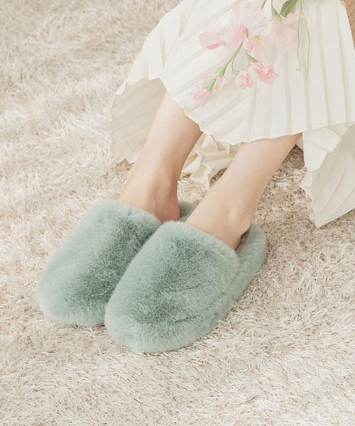 ★ 韓系 PON PON ★ 休閒甜美 蓬鬆柔軟短毛絨 室內拖 (五色)