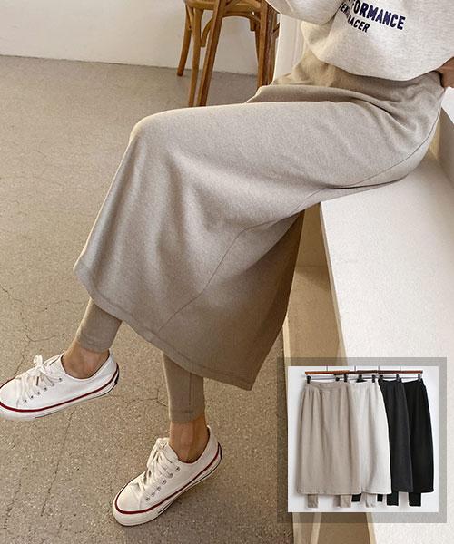 ★ 正韓 Skirt Leggings ★ 休閒假兩件 後開叉 鬆緊高腰內搭褲褲裙(四色)