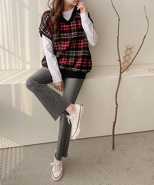 ★ 正韓 Margot Vest ★ 復古休閒英式格紋 撞色V領背心 (三色)