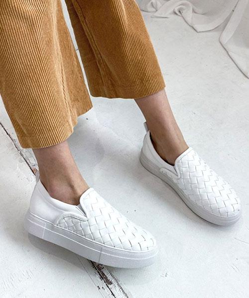 ★ 正韓 British Knitted ★ 個性質感手工編織皮革 休閒厚底懶人鞋 (三色)