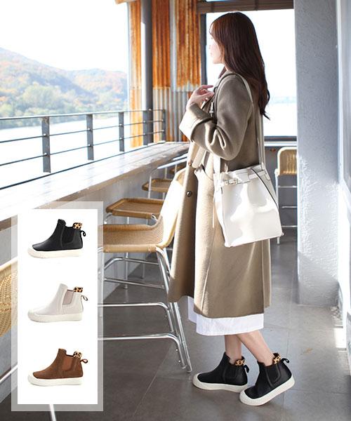 ★ 韓系 DINAH LEATHER ★ 質感真皮拼接豹紋 鬆緊穿套3cm厚底短靴 (三色)