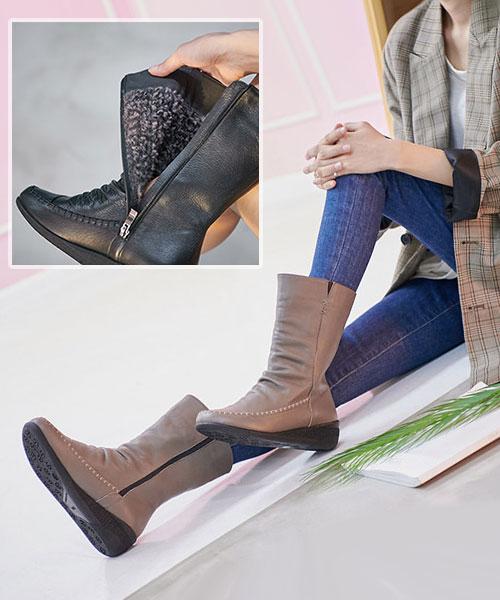 ★正韓 Beverly Leather ★ 質感微抓皺真皮 粗縫線 內短毛鋪絨中筒靴 (兩色)