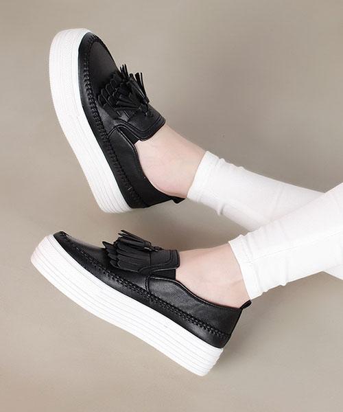 ★ 正韓 Tassel Platform ★ 個性簡約流蘇 造型車邊 4cm鬆糕厚底懶人鞋 (兩色)