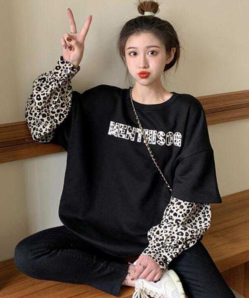 ★ 韓版 Leopard BK ★ 休閒寬鬆假兩件短袖拼豹紋長袖上衣