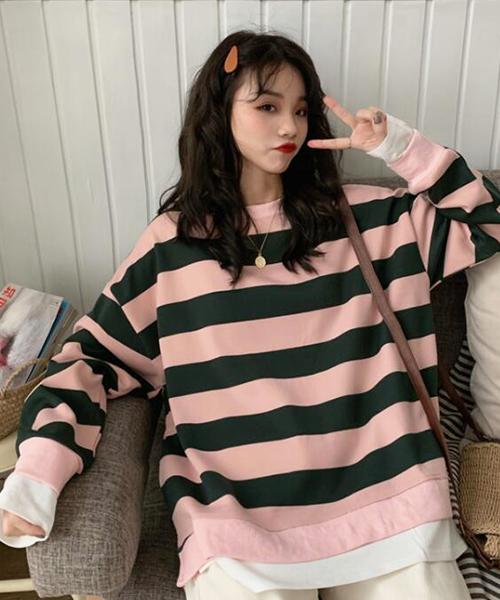 ★ 韓版 VENVEN SP ★ 清新可愛 橫條紋 圓領假兩件上衣 (兩色)