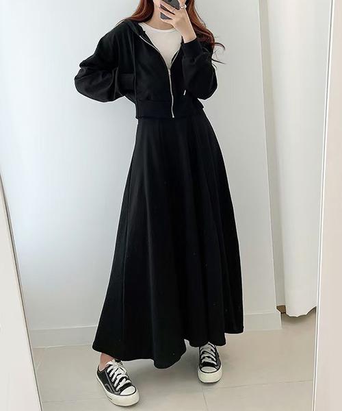 ★ 正韓 Hathaway Set ★休閒俏麗 迷人短版拉鍊帽T+小臀A字長裙(兩件套/三色)