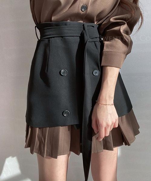 ★ 正韓 Waistband ★ [單品配件] 復古雙排釦一片式收腰西裝腰帶裙 (兩色)