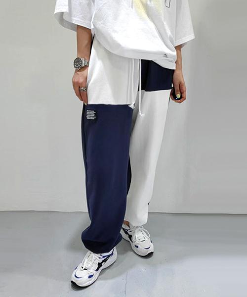 ★ 正韓 Urban Pazzo ★ 個性街頭拼色 鬆緊綁帶 休閒束口褲 (兩色)