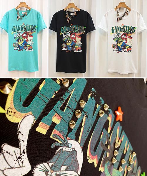 ★ 正韓 Gangsters TEE ★ 休閒可愛復古卡通鉚釘印刷 修身顯瘦短袖T恤 (三色)