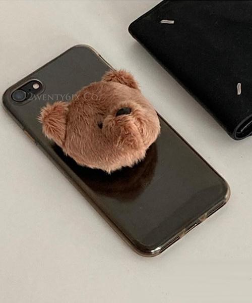 ★正韓 Teddy Bear ★超萌可愛立體泰迪熊 黏貼式手機伸縮氣囊支架 (兩色)