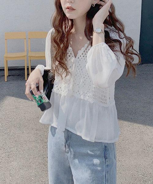 ★ 正韓 Chiffon Unique ★ 甜美優雅 質感雪紡拼接鉤花 完美短版上衣