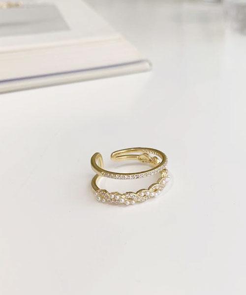 ★ 正韓 Graceful Ring ★ 閃耀氣質 雙環圈水鑽/扭結珍珠水鑽戒指 (開口戒圍)