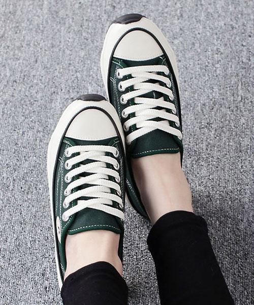 ★ 正韓 STARS PLA-CV ★ 個性百搭 內增高厚底 繫帶 帆布鞋 (三色)