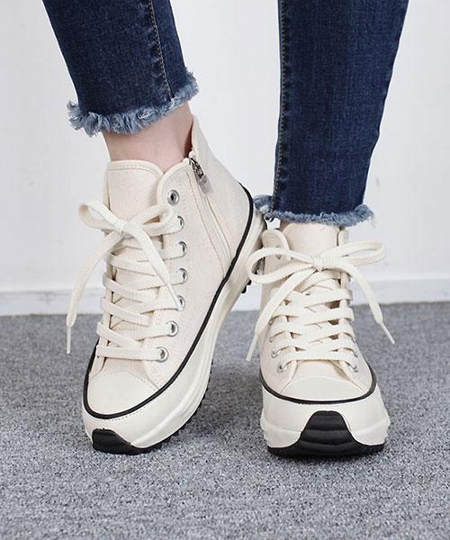 ★ 正韓 STARS PLA-HG ★ 個性百搭 內增高厚底 繫帶 高筒帆布鞋 (三色)