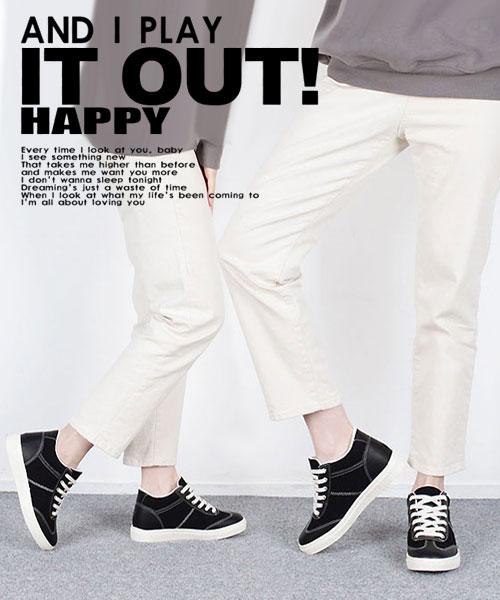 ★ 正韓 EDWINA CASUAL ★ 個性帆布拼皮革  內增高 厚底繫帶休閒鞋 (三色)