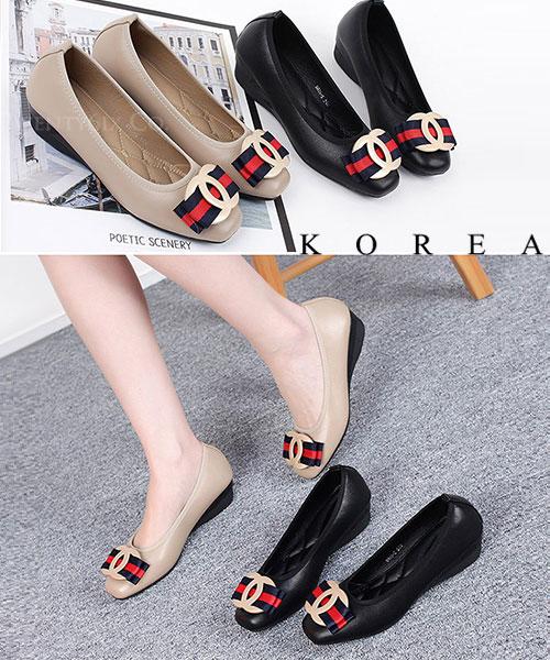 ★ 韓系 Gakiki Ribbon ★ 質感柔軟皮革 蝴蝶結緞帶 軟皮鞋墊娃娃鞋 (兩色)