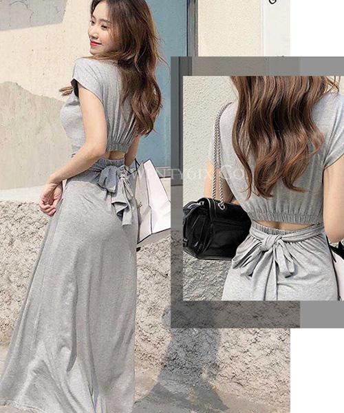 ★ 正韓 Chantel OPSK ★ 優雅甜美 莫代爾棉 心機造型腰間綁帶 連身裙 (兩色)