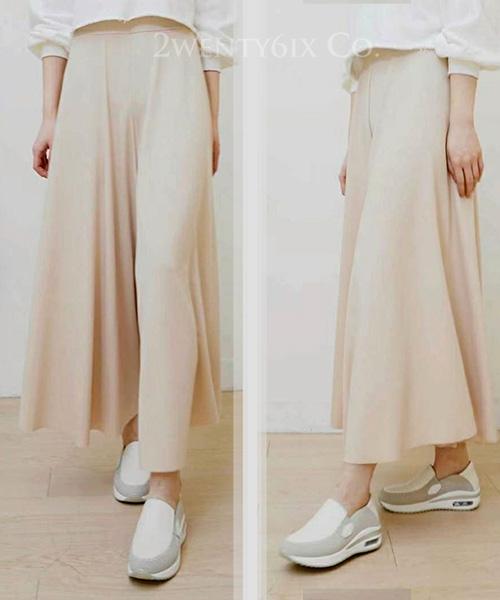 ★ 正韓 ALBA SPS ★ 時尚氣質 顯瘦自然垂墜 鬆緊寬褲裙 (三色)