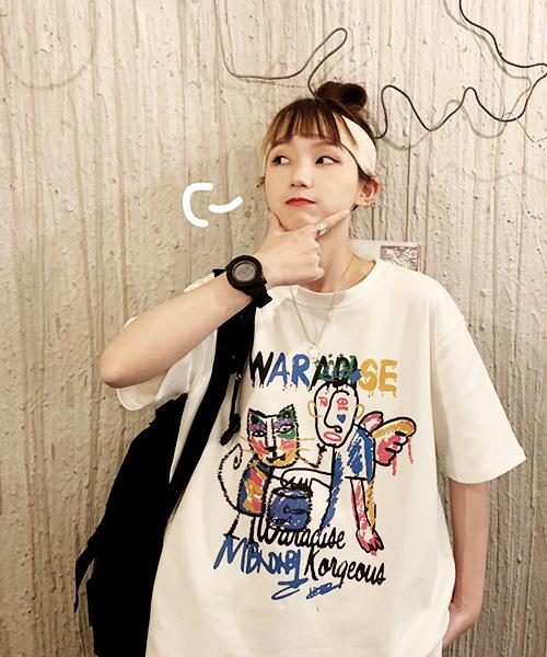 ★ 韓版 AGNS WK ★ 超萌INS爆紅學院風 抽象塗鴉 字母印刷 T恤 (三色/M~2XL)